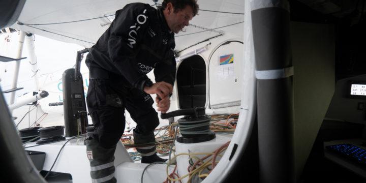 Nicolas Trucell with CORUM L'Épargne leaves the Vendée Globe 2020.
